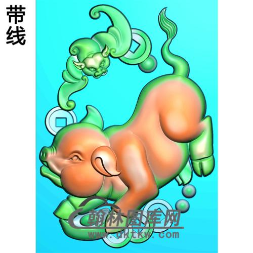 DW-048-动物系列猪精雕图(Z-003)