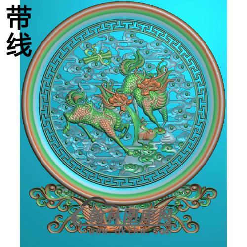 盘子双麒麟圆盘 (2)精雕图(QL-059)
