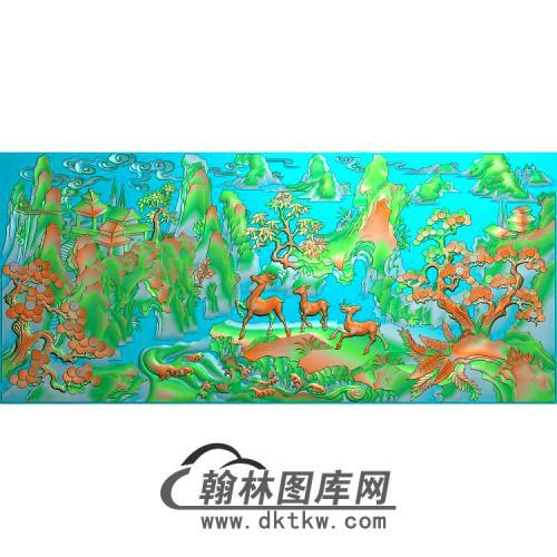 545精品仙鹿山水图1无线精雕图(L-001)