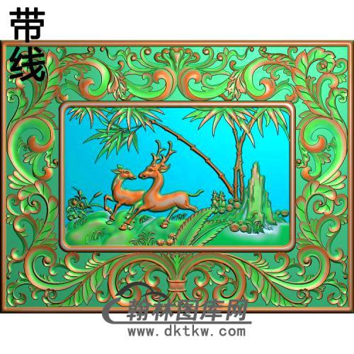 2006年10月24日洋花床高拼背板右双鹿精雕图(L-002)