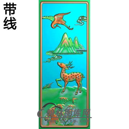 CTBB-1048-靠背鹤鹿同春精雕图(L-004)