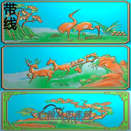 QTDW-7020床头柜门板(鹤鹿)精雕图(L-018)