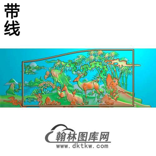 鹿竹同春精雕图(L-025)