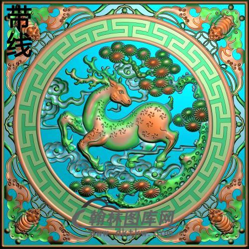 麒麟 方屏风精雕图(L-026)
