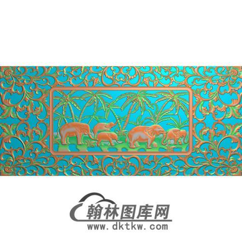494洋花大象图无线精雕图(DX-001)
