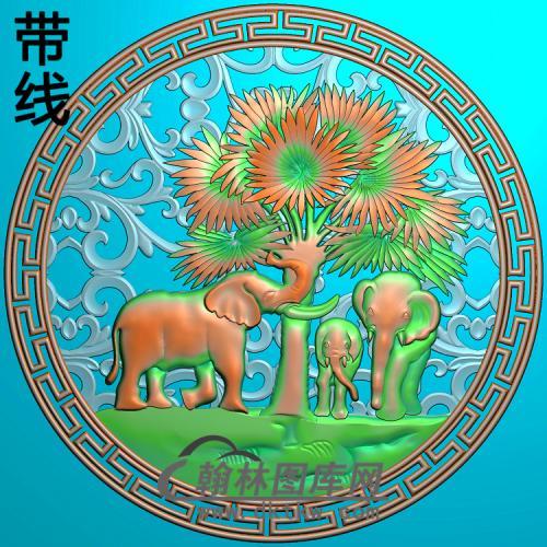 DW-024-动物系列三只小象精雕图(DX-002)