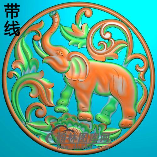 DW-025-动物系列大象精雕图(DX-003)