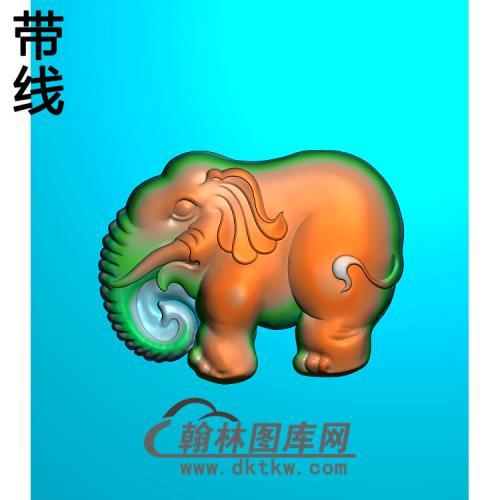 DW-044-动物系列小象精雕图(DX-004)