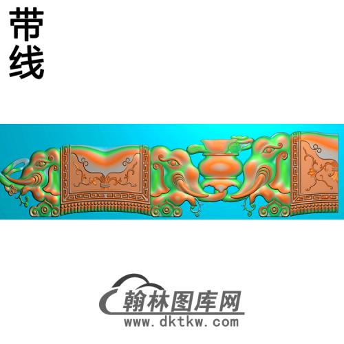 DX-455-象头长椅脑胡精雕图(DX-009)