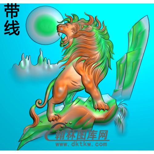 DW-060-动物系列狮子精雕图(SZ-009)