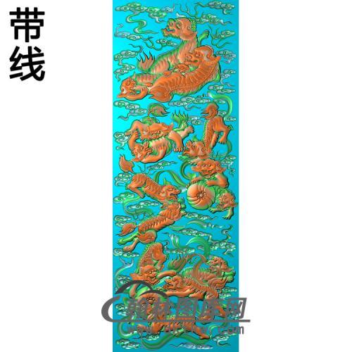 SZ-309-狮子滚绣球大板精雕图(SZ-027)