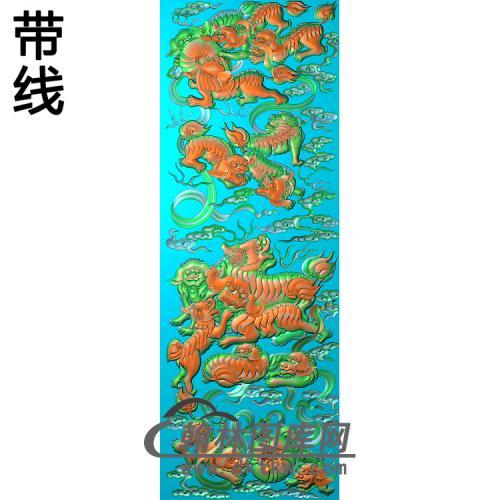 SZ-310-狮子滚绣球大板2精雕图(SZ-028)