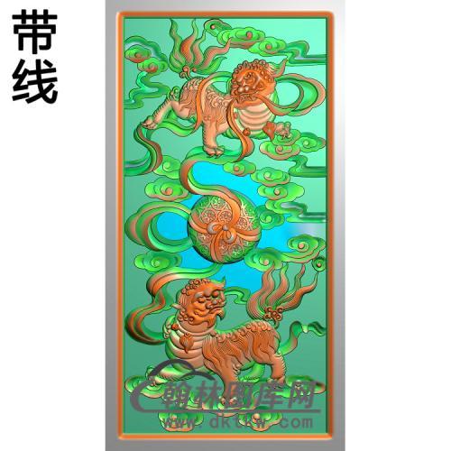 狮子滚球边板精雕图14.8-27.8(SZ-045)