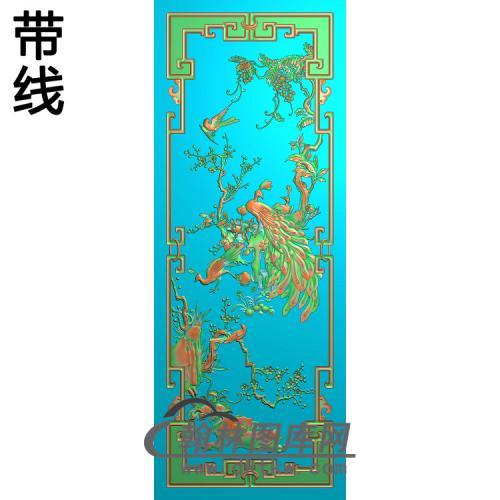 MH-3051-花鸟顶箱柜孔雀1精雕图(HKQ-013)