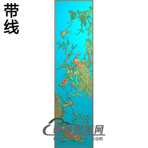 花鸟顶箱柜孔雀3精雕图(HKQ-037)