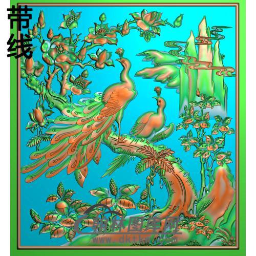 花鸟顶箱柜孔雀上花精雕图(HKQ-038)