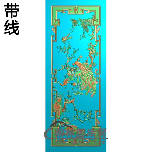 花鸟顶箱柜孔雀图精雕图(HKQ-039)