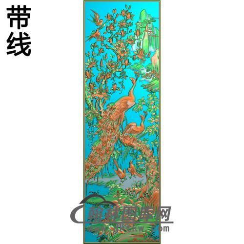 花鸟顶箱柜孔雀中花精雕图(HKQ-040)