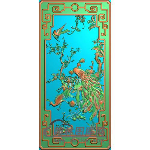 花鸟沙发孔雀无线精雕图(HKQ-041)