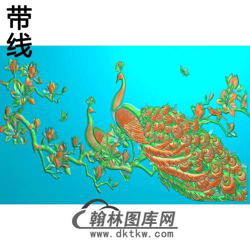 孔雀 背景墙精雕图(HKQ-042)