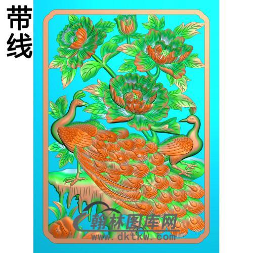 孔雀 牡丹2精雕图(HKQ-043)