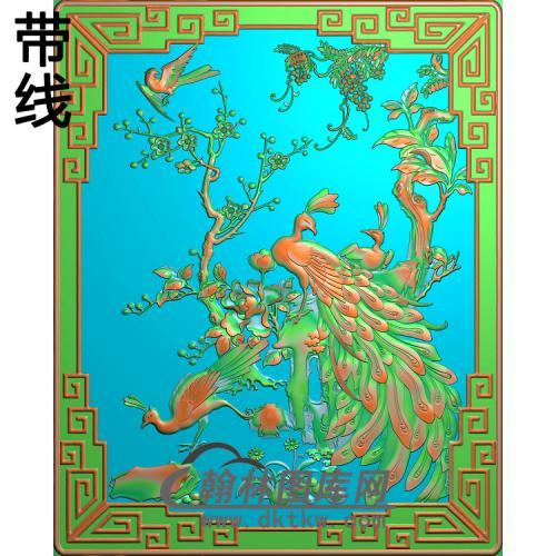 孔雀前门板精雕图(HKQ-045)