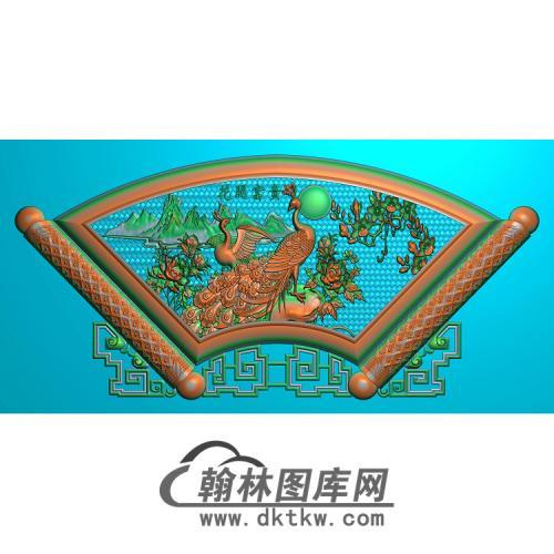 孔雀台屏加框好无线精雕图(HKQ-046)