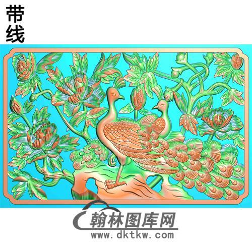 孔雀台屏加框好无线精雕图(HKQ-047)