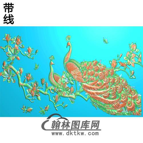 孔雀台屏加框好无线精雕图(HKQ-049)