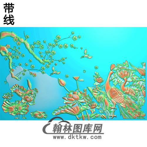 孔雀台屏加框好无线精雕图(HKQ-050)