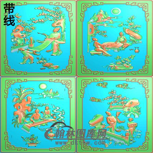 GRW-001-琴棋书画人物书柜精雕图(QQSH-001)