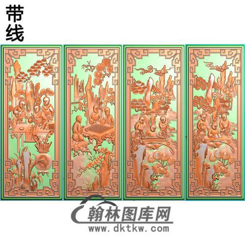 琴棋书画童子精雕图(QQSH-009)