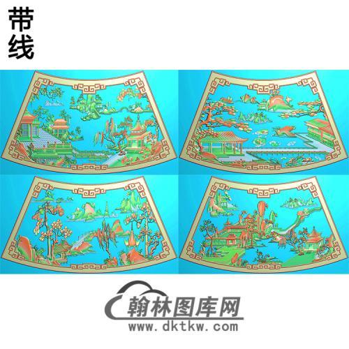 精品山水圆台一套精雕图(SSTT-002)