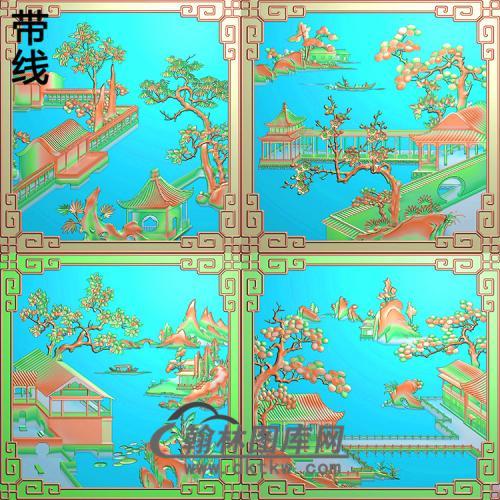 精品渔樵耕读山水顶箱柜全套图精雕图(SSTT-003)