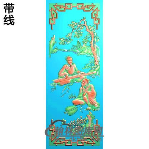 琴棋书画--琴,菊精雕图(SSRW-107)