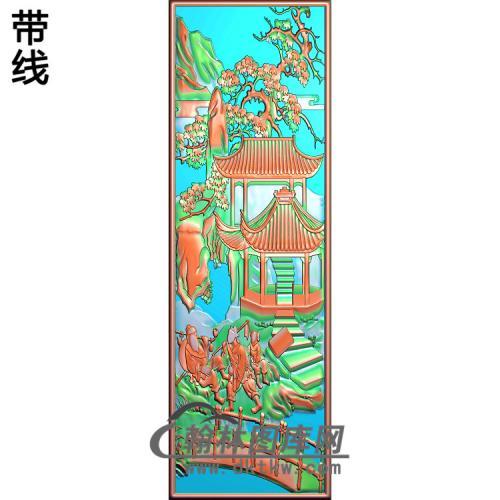 书柜金典1山水人物精雕图(SSRW-116)