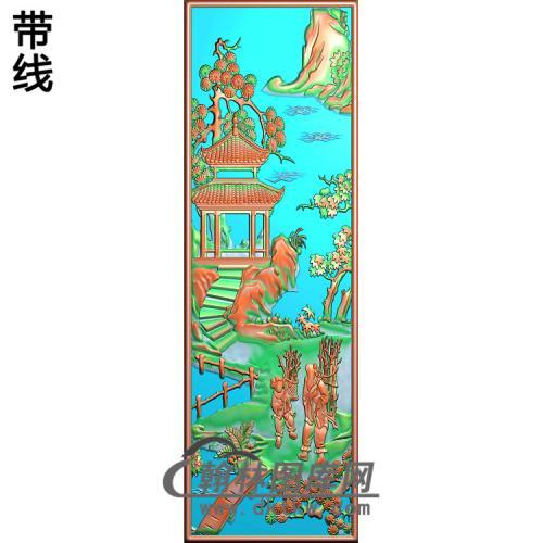 书柜金典2山水人物樵精雕图(SSRW-117)