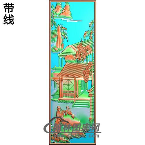 书柜金典3山水人物读书改好精雕图(SSRW-118)