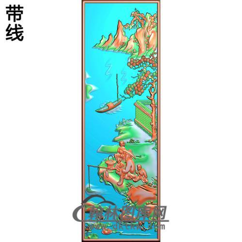 书柜金典4山水人物钓鱼精雕图(SSRW-119)