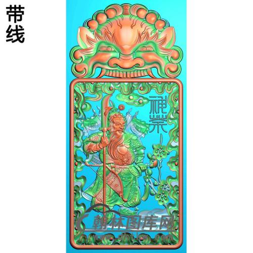 门神挂件精雕图(MS-015)