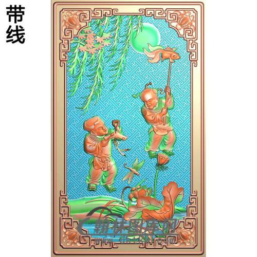 江南风光靠背灯笼童子精雕图(TZ-105)