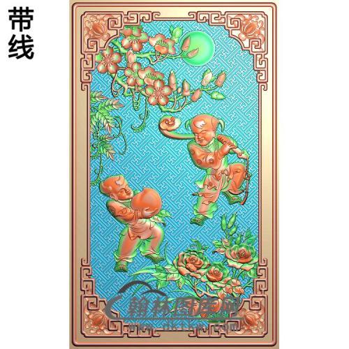 江南风光靠背如意桃童子精雕图(TZ-107)