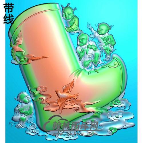 平步青云鞋子精雕图(TZ-118)