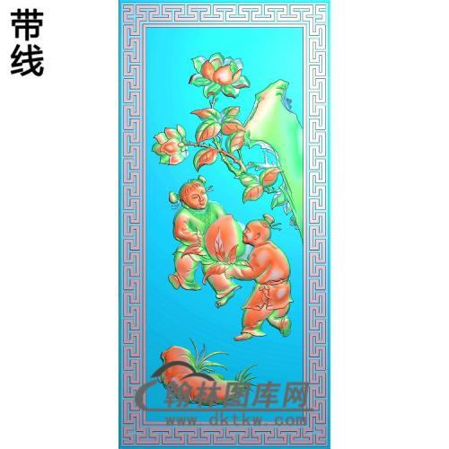 抬寿桃的小孩精雕图(TZ-123)