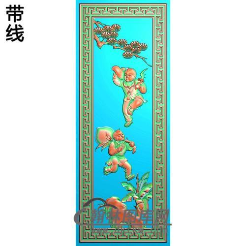 抬桃子童精雕图(TZ-125)