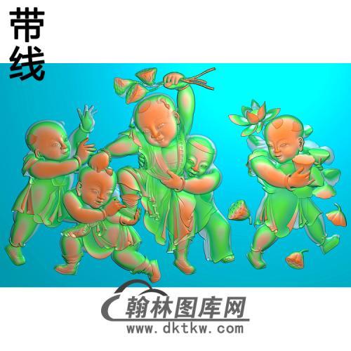 五子夺莲【密110】精雕图(TZ-148)