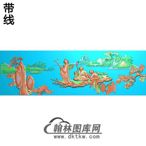 SSRW-0037-八仙罗汉床山水人精雕图(BX-135)