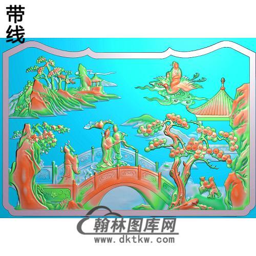 SSRW-0038-群仙之八仙罗汉床精雕图(BX-136)