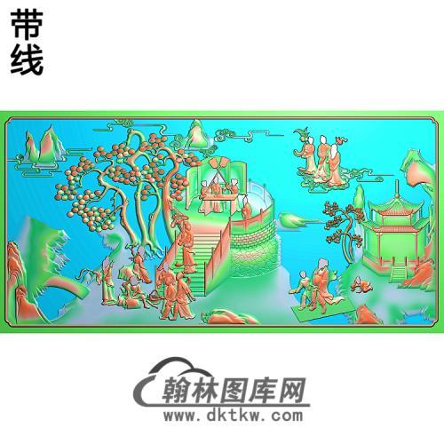 八仙背中精雕图(BX-154)