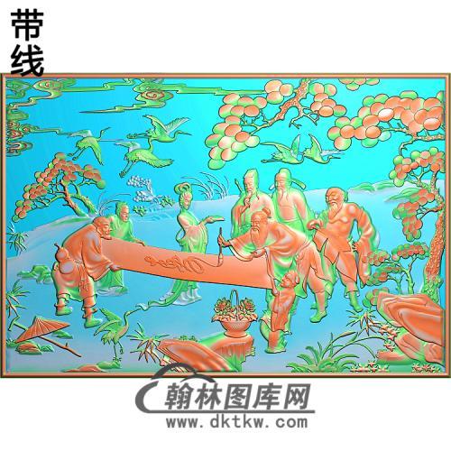 八仙大平几精雕图(BX-157)